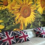 bespoke printed wallpaper of sunflowers