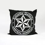 bespoke printed cushion for Estrella Galicia in black and white
