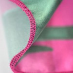 digitally printed handkerchiefs close up with pink threads