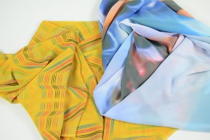 a selection of digitally bespoke printed scarves - close up in a range of colours and patterns - resize
