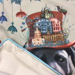 Printed cushion of a dog close up including close up of Zip