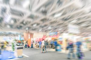 personalise your trade show stand stock image