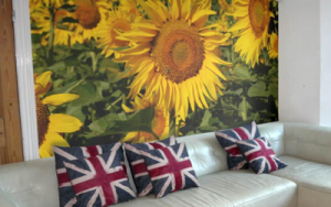 bespoke printed wallpaper of sunflowers