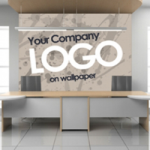 example of where you logo can sit as a printed wallpaper to create an impact