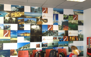 bespoke printed wallpaper of a montage