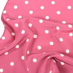 digitally printed handkerchiefs pink with whit spots close up