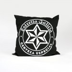 bespoke printed cushion for Estrella Galicia in black and white