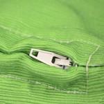 bespoke printed cushions close up of zip