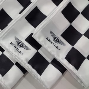 logos displayed on silk printer scarves
