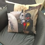 Digitally Printed Cushion of a girl with her horse