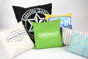 a selection of digitally bespoke printed cushions close up in a range of colours and patterns resize