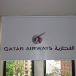 White branded Qatar airways blinds used in head office